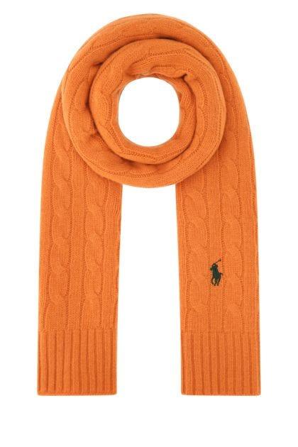 Orange wool blend scarf