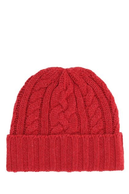 Red polyester blend beanie hat