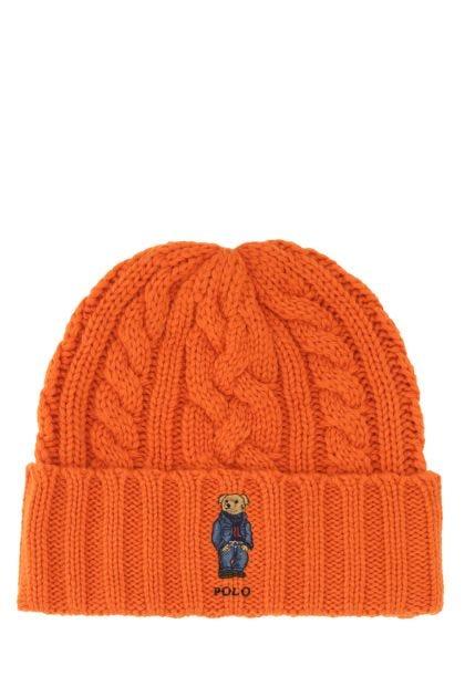 Orange polyester blend beanie hat