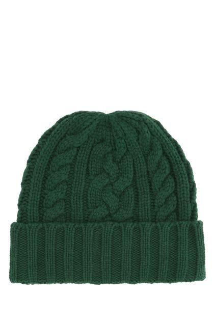 Bottle green polyester blend beanie hat