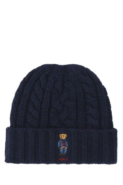 Navy blue polyester blend beanie hat