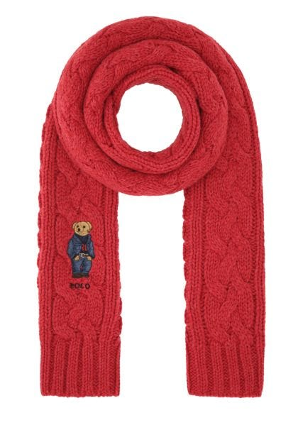 Red polyester blend scarf