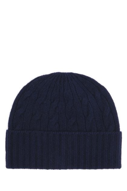 Blue wool blend beanie hat