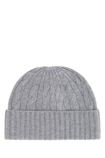 Grey wool blend beanie hat