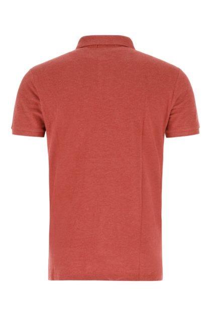 Melange red piquet polo shirt