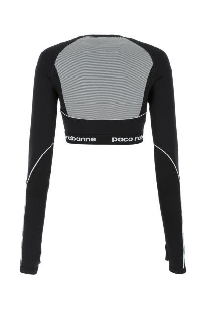 Black stretch nylon blend top
