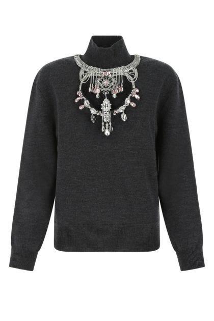 Melange dark grey stretch wool blend sweater