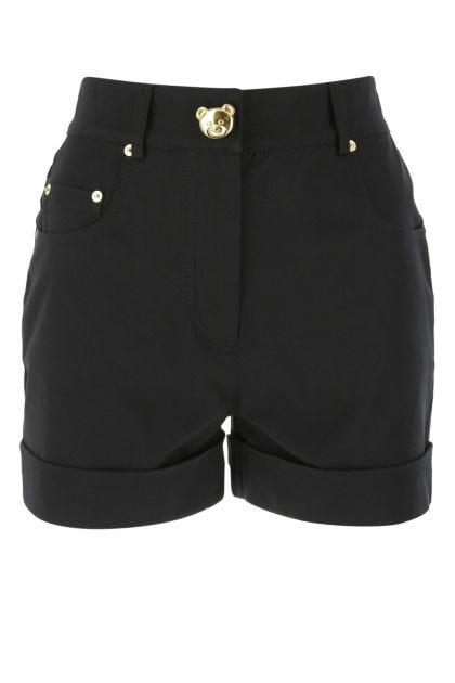 Black stretch cotton shorts