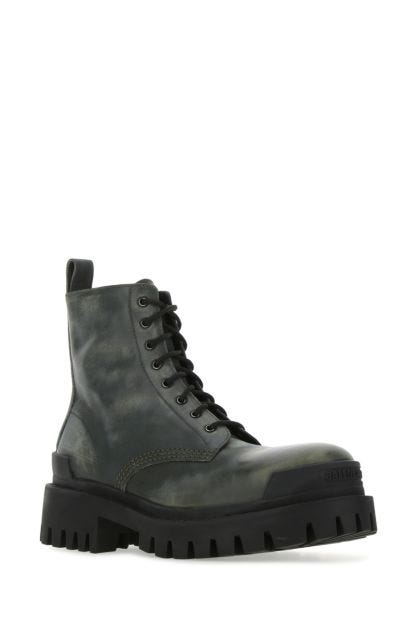 Military green leather Strike ankle boots