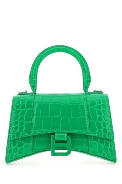 Green leather XS Hourglass handbag