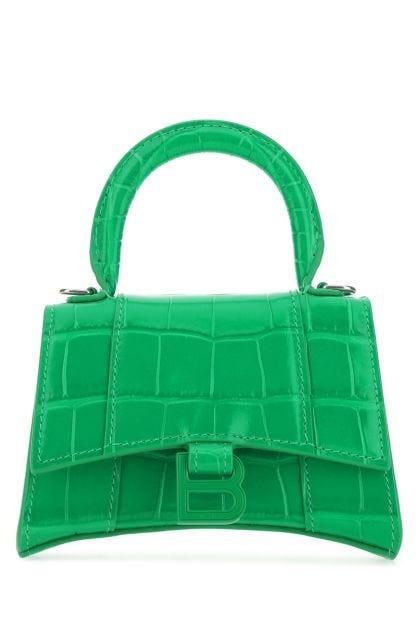 Green leather mini Hourglass handbag