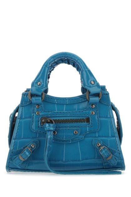 Turquoise leather super nano Neo Classic handbag