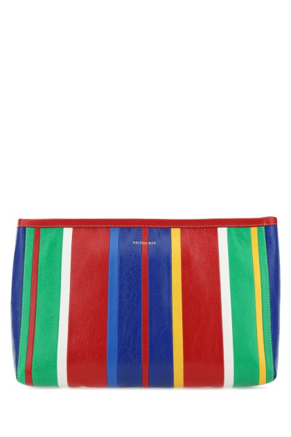 Multicolor leather Barbes clutch