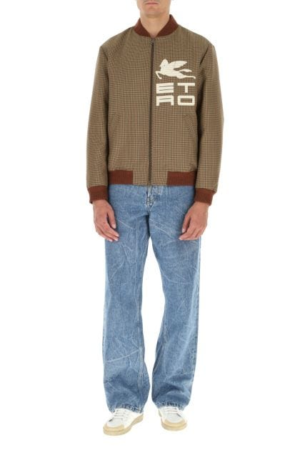 Embroidered wool and polyester bomber jacket