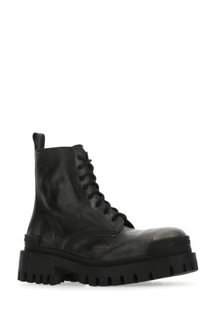 Black leather Strike ankle boots