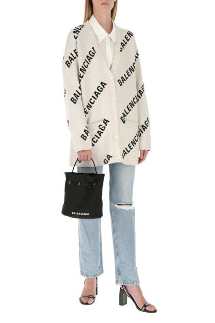 Black nylon Wheel S bucket bag