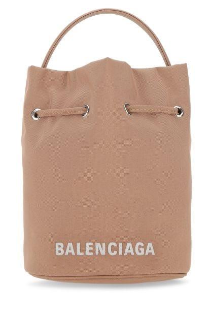 Skin pink nylon Wheel bucket bag