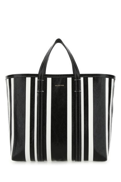 Two-tone leather medium Barbes shopping bag