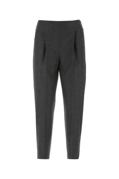 Dark grey stretch wool blend pant
