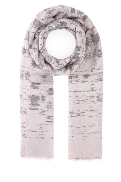 Embroidered viscose blend scarf