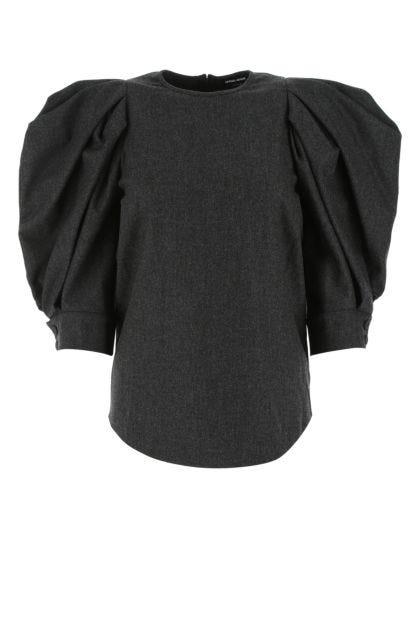 Slate stretch wool blend top