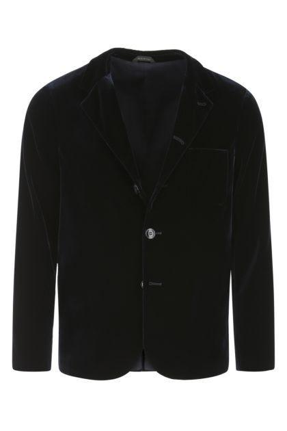 Midnight blue stretch velvet blazer