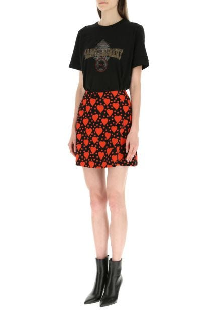 Printed viscose mini skirt
