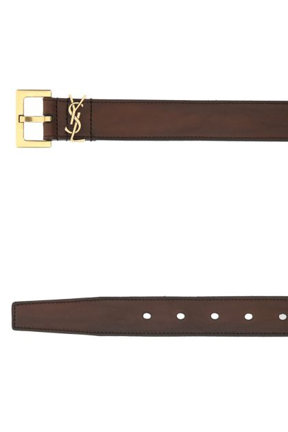 Brown leather Monogram belt