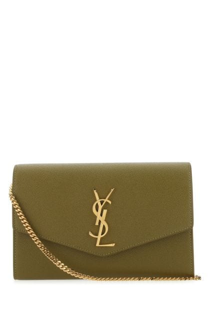 Olive green leather Uptown clutch