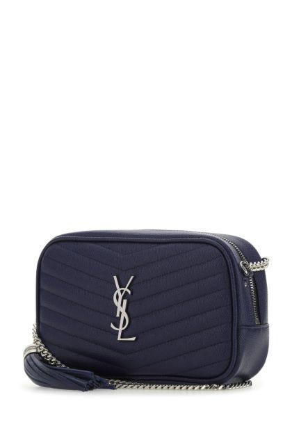 Dark blue leather mini Lou crossbody bag