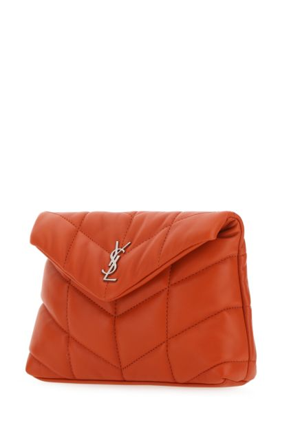 Orange nappa leather small Lou Puffer pouch