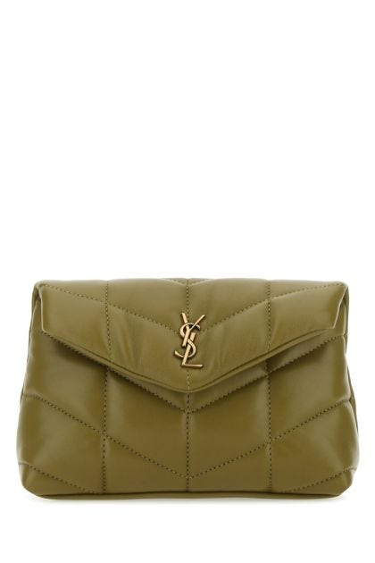 Olive green nappa leather small Puffer pouch