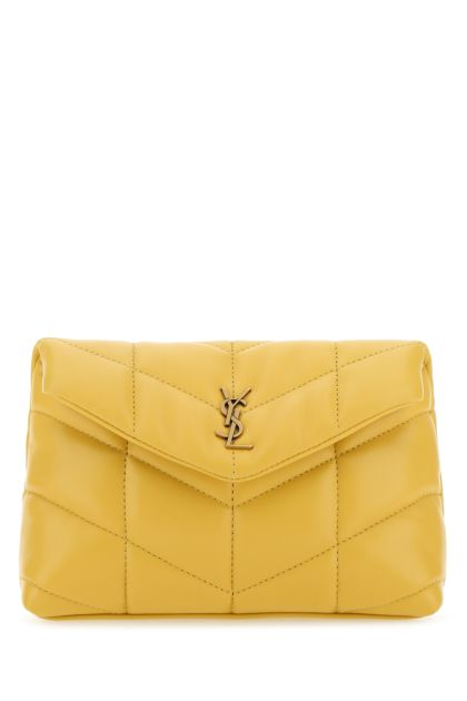 Yellow nappa leather small Lou Puffer pouch