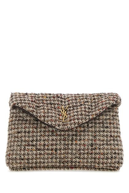 Multicolor tweed small Puffer pouch