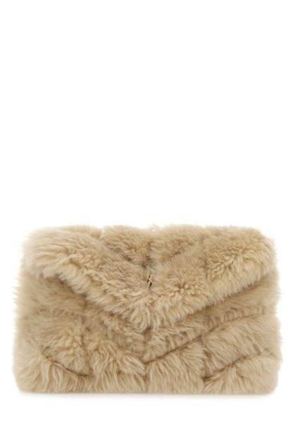 Beige shearling small Puffer pouch