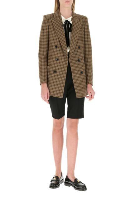 Black wool bermuda shorts