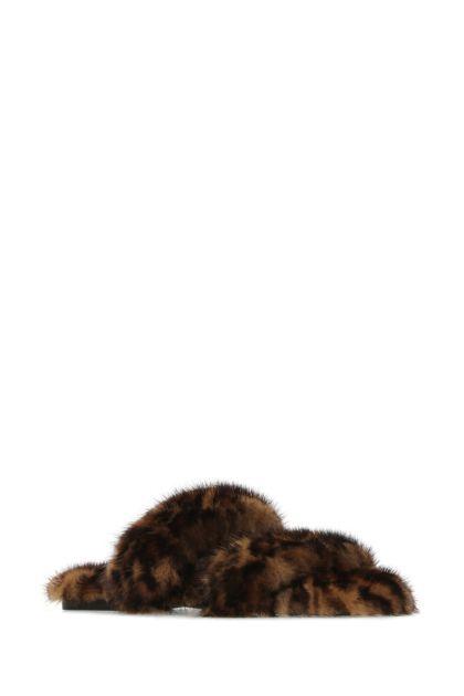 Printed fur slippers