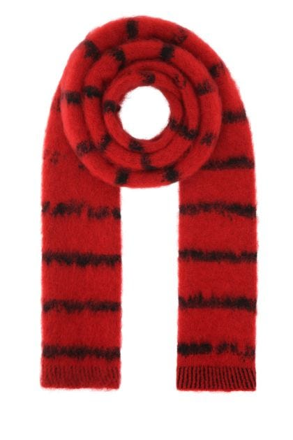 Embroidered stretch wool blend scarf
