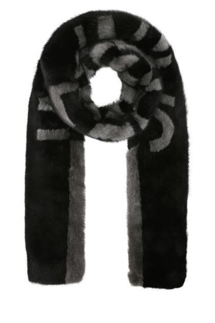 Two-tone fur scarf