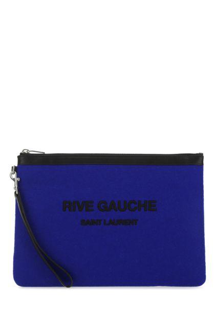 Electric blue felt clutch
