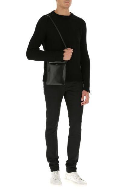 Black nappa leather Flat Sid shoulder bag