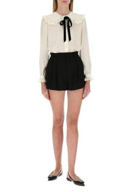 Black wool shorts