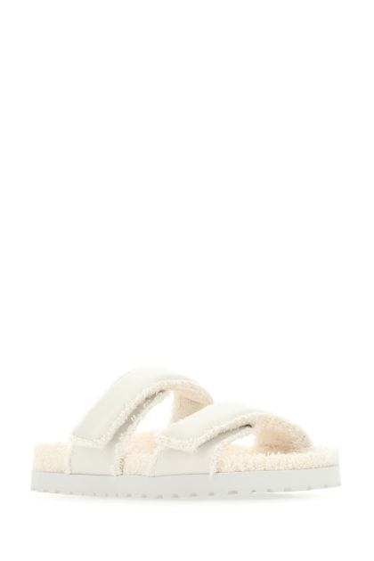 Ivory leather Perni 11 slippers