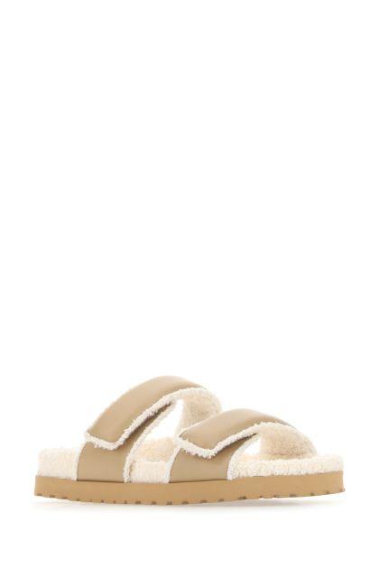 Cappuccino leather Perni 11 slippers