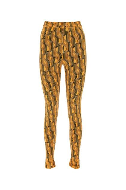 Embroidered stretch wool blend leggings