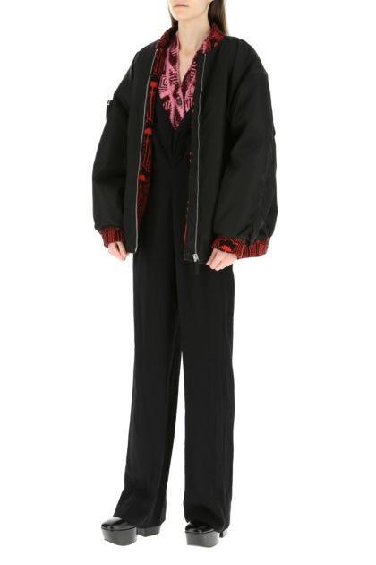 Black Re-nylon oversize bomber jacket