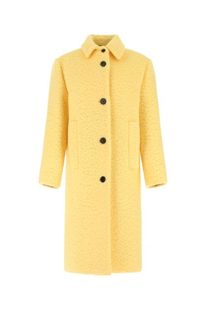 Pastel yellow wool blend coat