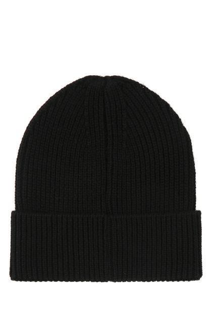 Black wool and acrylic beanie