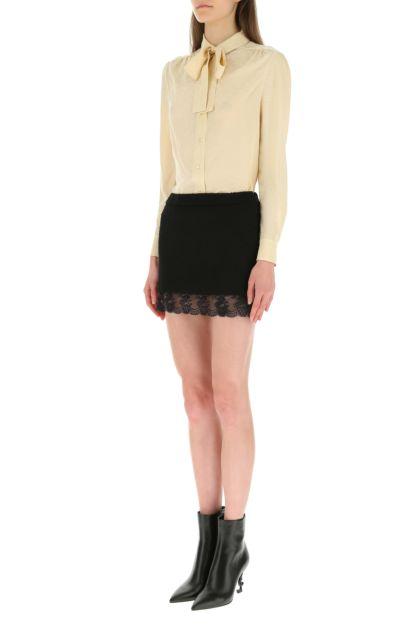 Black bouclé mini skirt