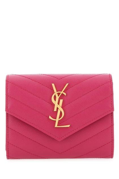Fuchsia leather Monogram wallet